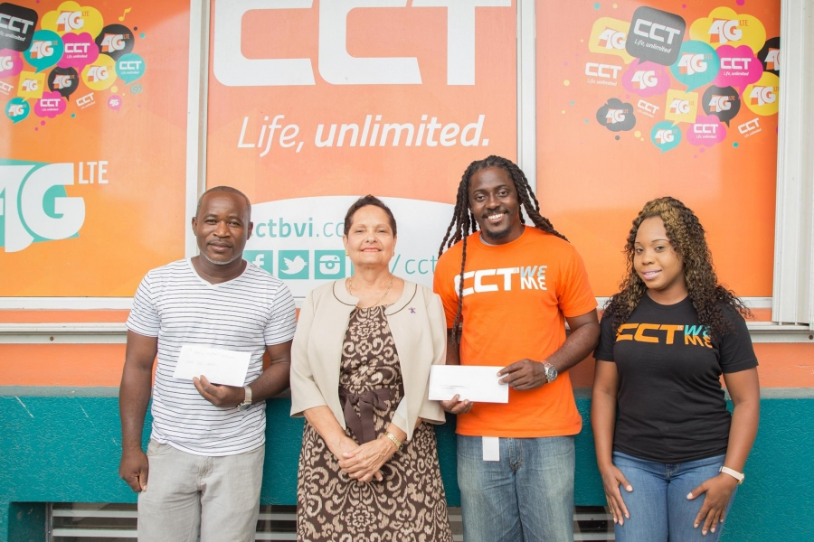 President of Family Support Network (FSN), Mrs Judith M. Charles (second from left) accepting a donation from Sherwin A. Peters (far left), member of the promotion team 'De Crew' along with CCT's Marketing Manager, Mr Recaldo E. Richardson and Jerilee T. Hopkins, Public Relations Marketing Coordinator at CCT. Photo: CCT
