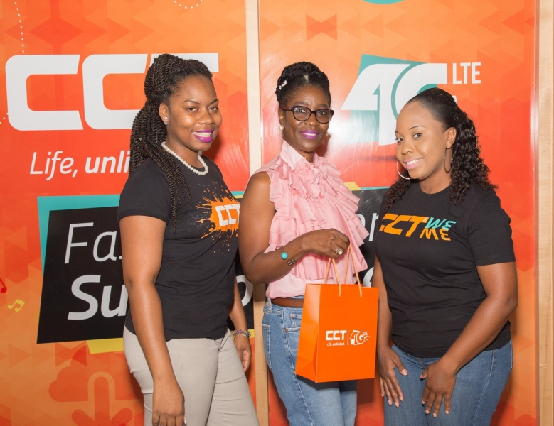 First prize winner Ms. Marcia Todman, with CCT's Administration Manager Rekeema Turnbull and Public Relations/Marketing Coordinator Jerilee. Hopkins (Photo credit: CCT BVI)