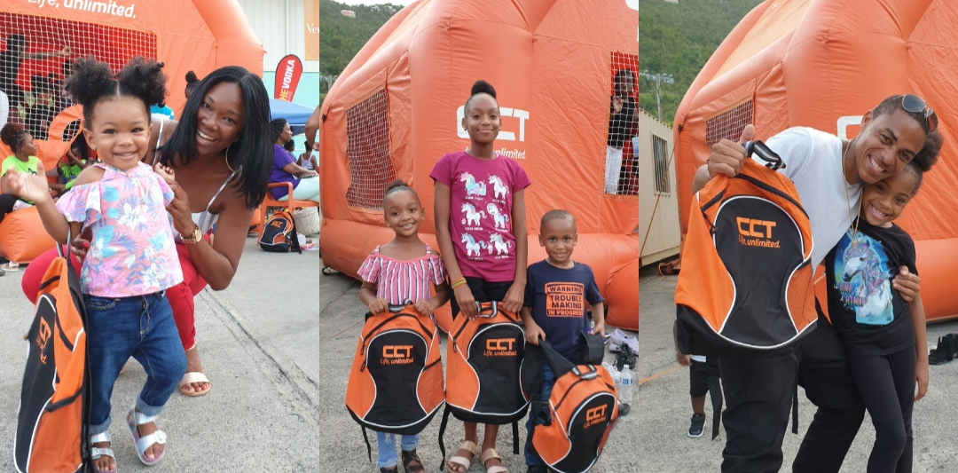 Attendees receives back to school supplies from CCT Back to School Drive on Saturday, August 31st. (Photo credit: CCT BVI)